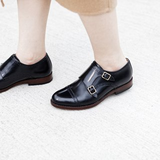 Lin Guoliang Double Strap Cross Saw Double Buckle Monk Shoes Classic Black