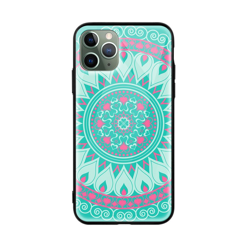 Mandala Art Turquoise Glossy mobile phone case iPhone 11 Pro XR Samsung Huawei
