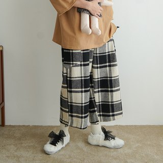 Black and white check straight straight pants - imakokoni