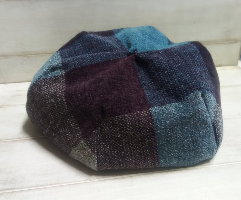 Personalized coffee blue plaid beret