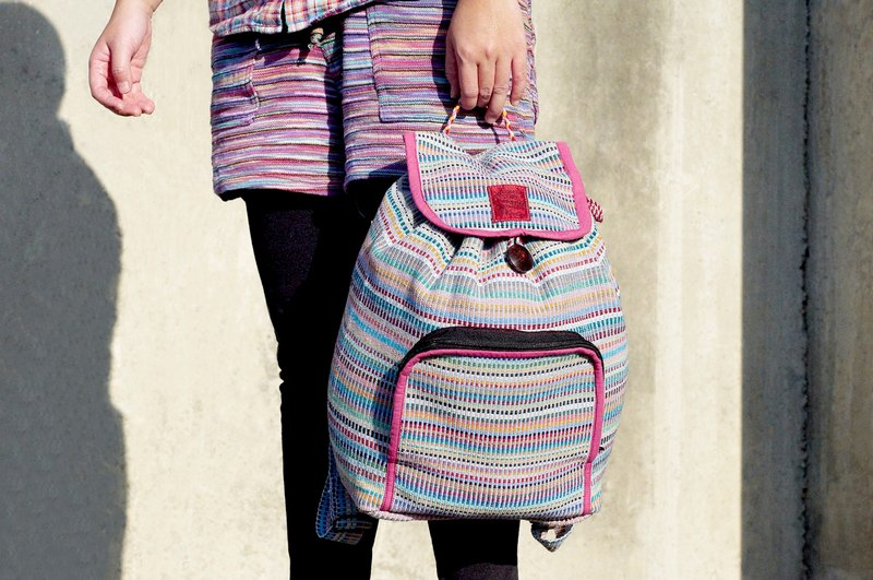A limited edition hand-woven natural rainbow colorful canvas bag / backpack / backpacks / shoulder bag / bag - Natural hand mixing colors pink