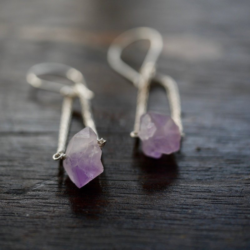 Rough Amethyst Chain Earrings