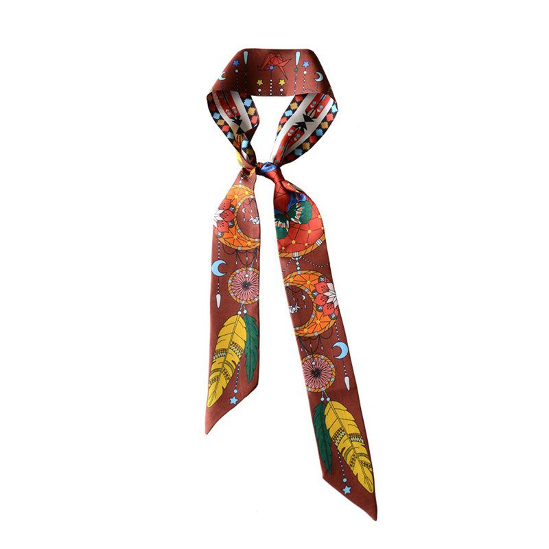 dreamcather butterfly silk twilly scarf Indian pattern brown hair band
