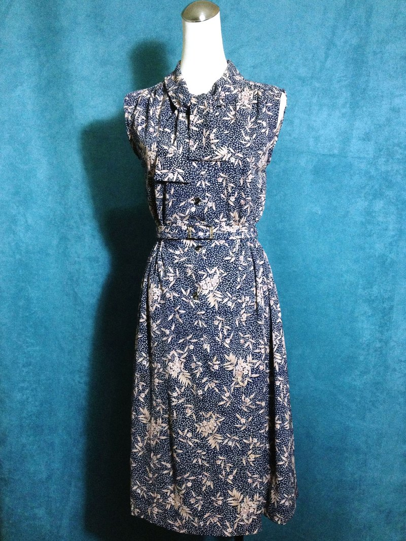 Ping-pong vintage [vintage dress / Japanese-style flower belt vintage sleeveless long dress] abroad back VINTAGE