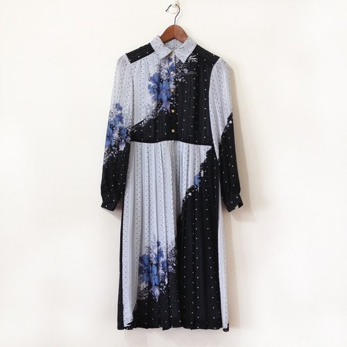 Ancient dress black gray gray blue gray long-sleeved pleated dress