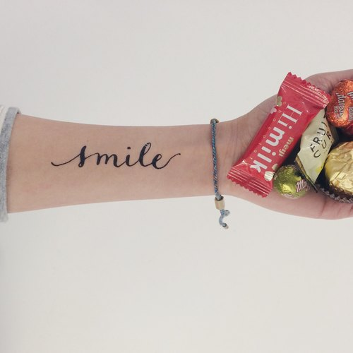 "cottontatt ""smile"" (large) calligraphy temporary tattoo sticker"