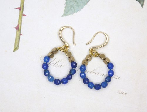 Blue circle chalcedony brass earrings ear clip