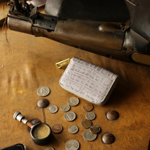 Japan manufactured cowhide coin note packing gray made in JAPAN handmade leather wallet coincase