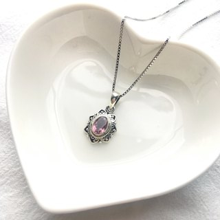 Pink tourmaline 925 sterling silver lace necklace Nepal handmade silverware