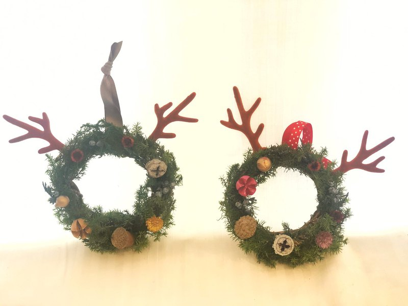Wbfxhm / Long-horned elk does not wither a small wreath (10 cm) X'mas Gift
