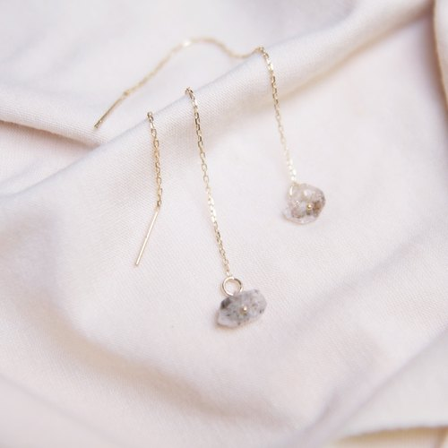 Natural small crystal through stone long chain gold earrings 14kgf bag K gold