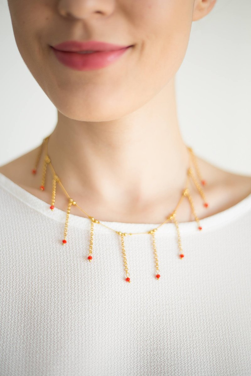 Gold Necklace Fringe Necklace Statement Necklace Clothing Gift Gift for Mom Crystal Necklace Red Necklace Red Accessory