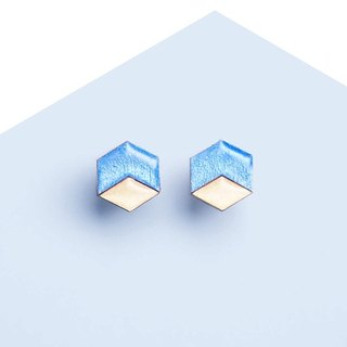 Hex - wooden earrings, sky blue / Titanium stud earrings or plastic clip earrings