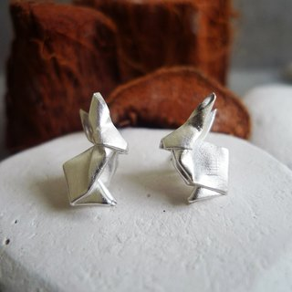 Green Rivor Handmade Sterling Silver Origami Rabbit Earrings