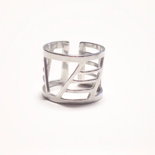 Silver 950 ring such as painting : Shibuya scramble crossing design/US size 5-10<unisex>