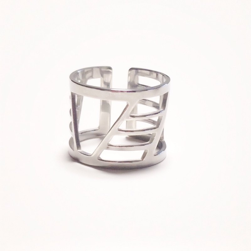 Silver 950 ring such as painting: Shibuya scramble crossing design / US size 5-10 <unisex>