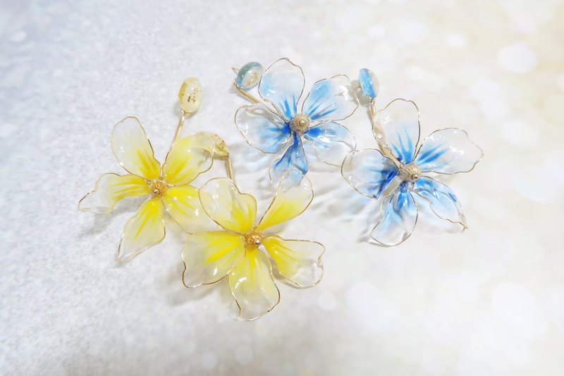 Miss Paranoid Miss Paranoid Transparent Big Flower Yellow / Blue Resin Earrings 925 Silver / Steel Pin
