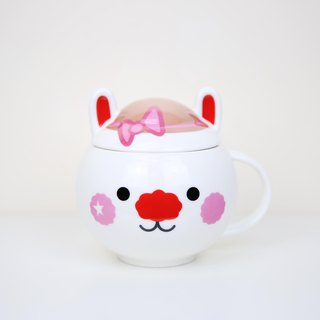 Pink Star Rabbit ceramic cup