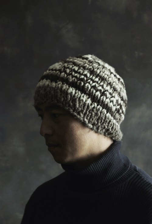 Brown,grey and white  Yak Down Fiber Knitted Hat