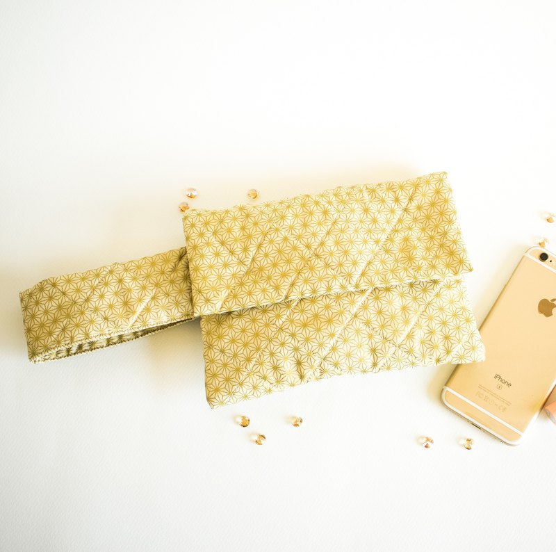 Bracelet pouch / Party  purse / Hold it like your bracelet^^  / Ready to party / Asanoha - Kumiko pattern/ ポーチ