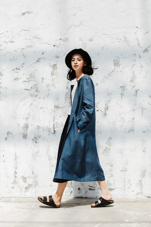 Blue Chambray Linen Robe