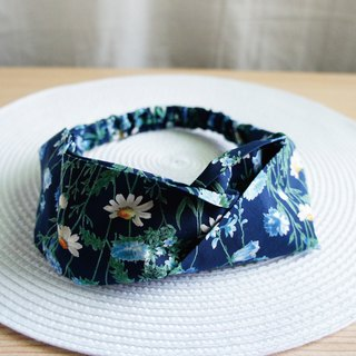 Lovely【Japanese cloth custom】flower games butterfly elastic hair band, hair ring[Blue & Blue]E