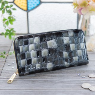 Japan made cowhide wreath coloring glassy black made in JAPAN handmade leather wallet