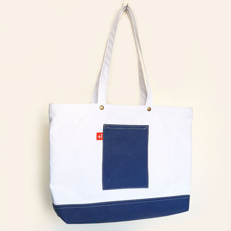 Plus 1 白色配寶藍帆布三袋日系袋/帆布包/托特包