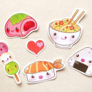 Japanese Cuisine Stickers [6 Pieces] - Waterproof Stickers - Laptop Decals
