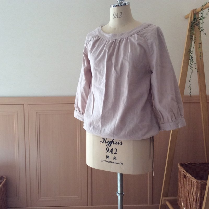 T-like order product / smock blouse (three-quarter sleeve) / cotton linen (salmon pink)