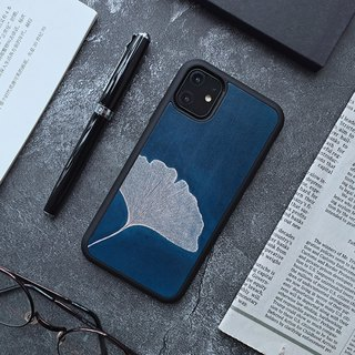 Dark blue ginkgo leaf iphone 6 7 8 plus x xs max xr leather phone case case