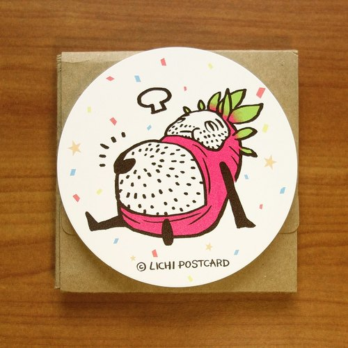 Li Ji POSTCARD. Ceramic water coaster - eat eat