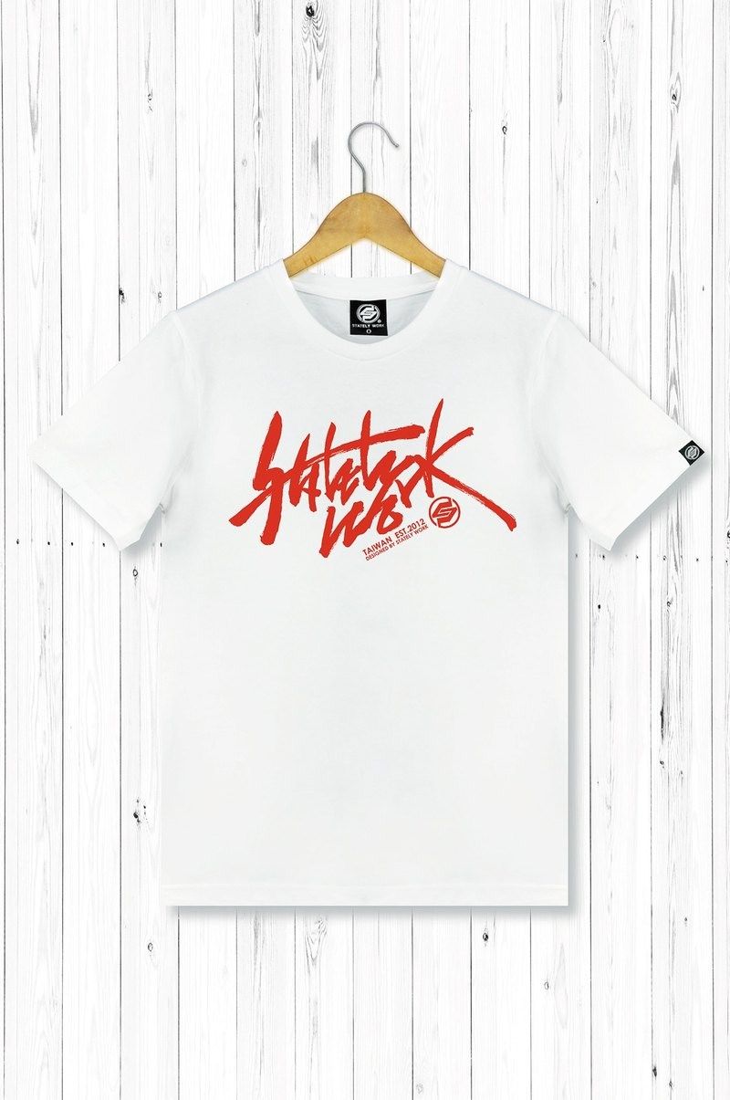 STATELYWORK Calligraphy Graffiti T-Men T-Shirt - White Red