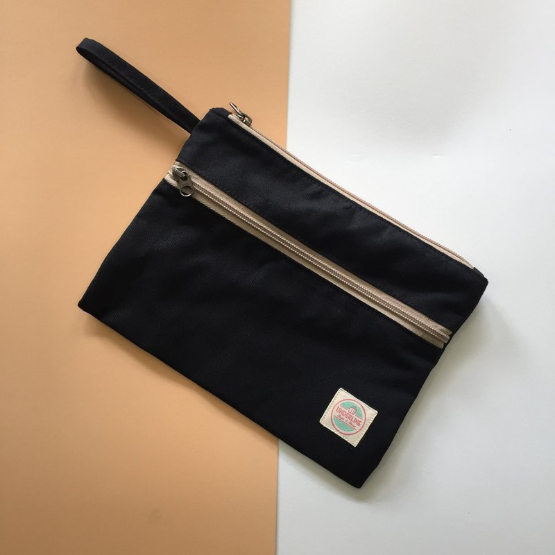 Black Canvas Handbag HB03 / Clutch / daily use