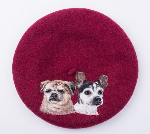 Moonmade Custom Pet Kennel Hat Handmade Wool Felt Needle Beret Artist Hat Customized Anniversary Gift Custom Handmade Beret of Dogs Warm Hat