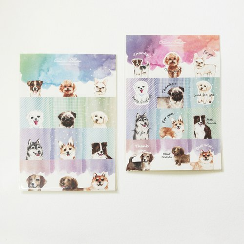 Dog pet fantasy stickers -2 into the round stickers handwritten blessings thanks to 12 kinds of dog stickers