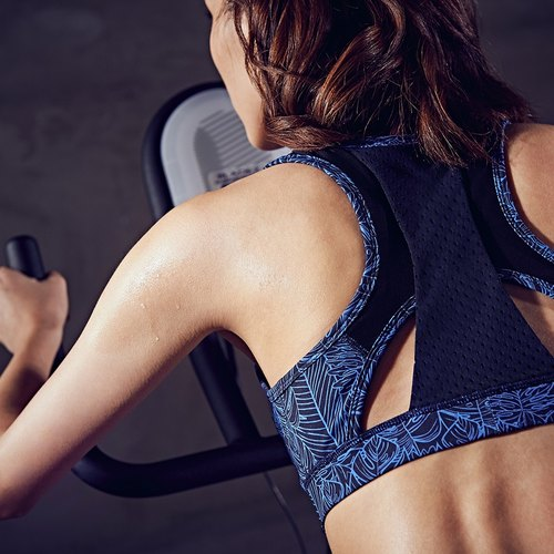 【MACACA】 net cool coated lift 3D bra-ASA0512 black and blue leaves (yoga / jogging / fitness / light exercise)