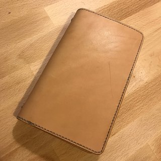 Handmade hand-dyed leather A6 6 hole loose-leaf notebook (free printing, embroidered words)