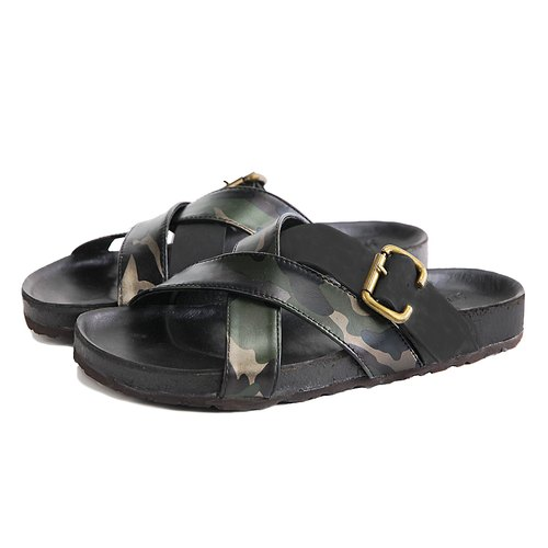 Dubai M1174 Black Camouflage-Print  leather sandals