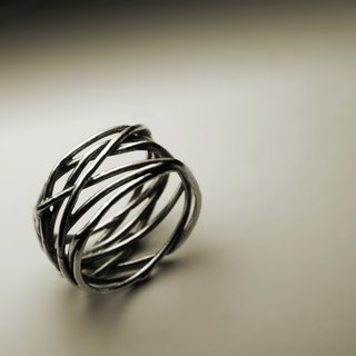 Wide silver thread ring