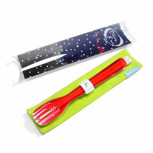 dipper 3-in-1SPS Green Cutlery Set - Berry Red Fork (Christmas Limited Edition)