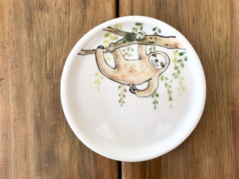 Sloth series hand-pressed underglaze painted tray 3
