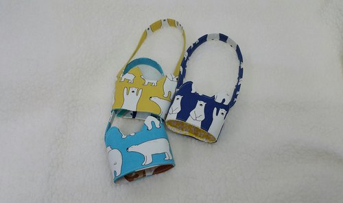 Hands Polar Bear / Tricolor cat ears with eco-friendly drink cup sleeve bag / double-sided available