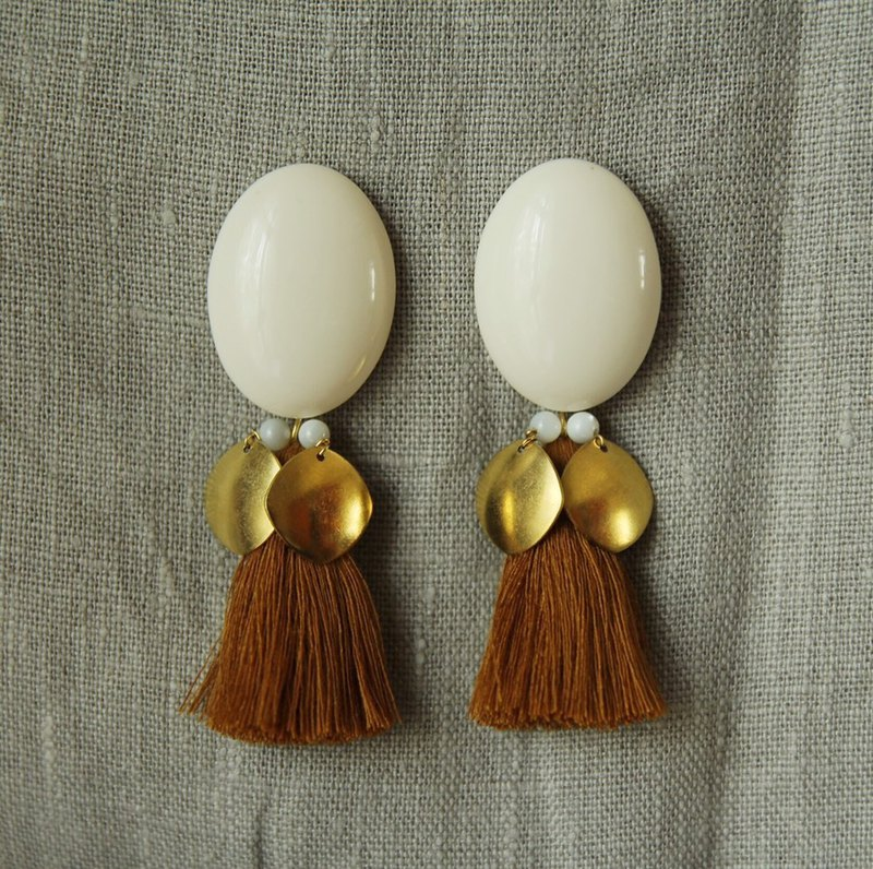 Protein brass tassel earrings