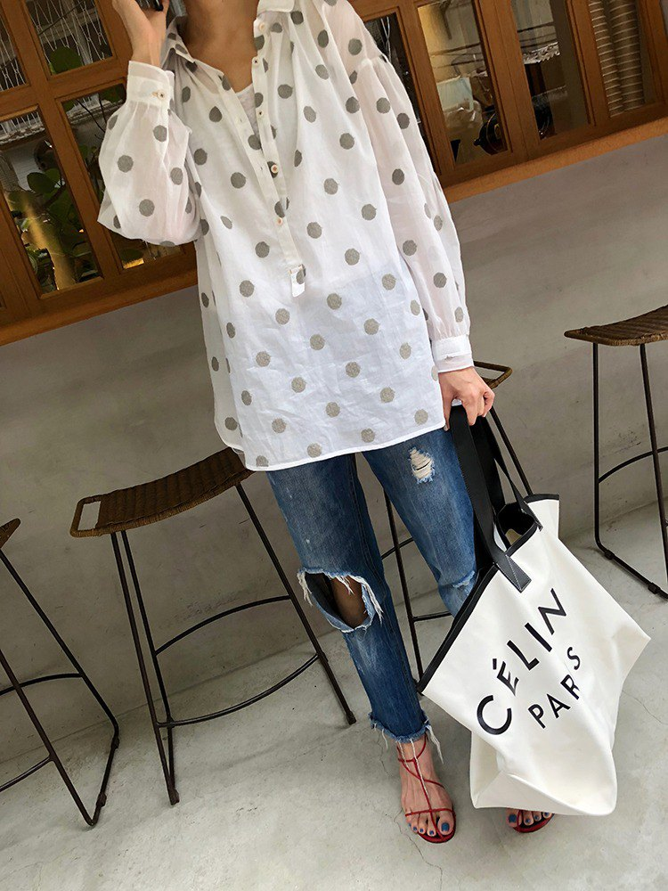 ZUO Dot embroidery, fine cotton, loose shirt, top