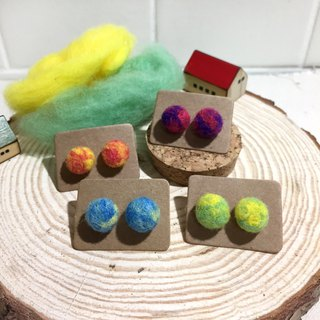 Wool felt planet earrings (can be changed into clip)