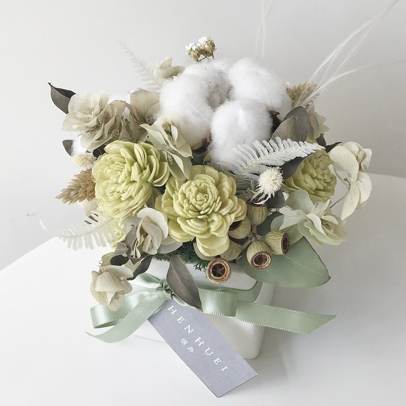 Healing cotton drying table flower (middle basin) – dry flowers, table flowers, birthday gifts, office objects