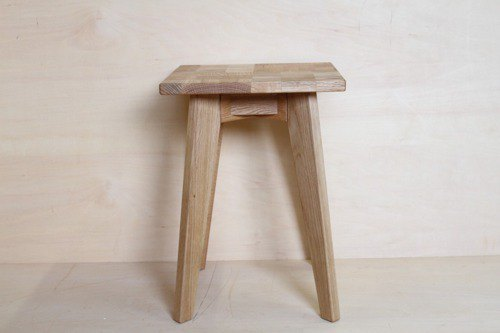 Stool heaven (ten), white oak, seat is patchwork style