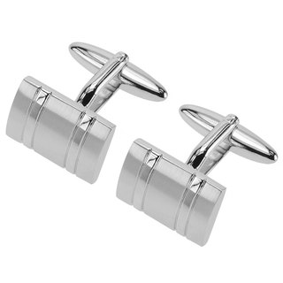 Classic Curved Silver Two Tone Cufflinks