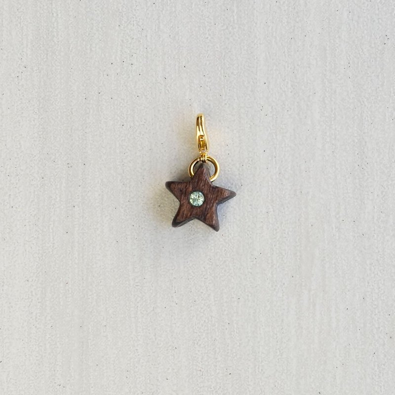 "Wood CHARM ""green sky @ Lucky. Charm [optional gold / silver buckle]"